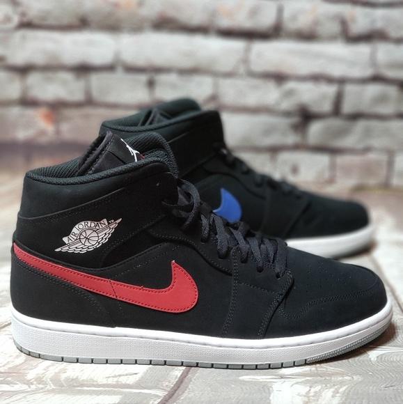 meet d62bb d10dd Jordan AJ 1 Mid Nike Black Varsity Red Royal Sz 12 NWT